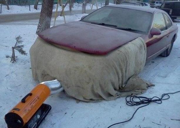 отогревание автомобиля зимой